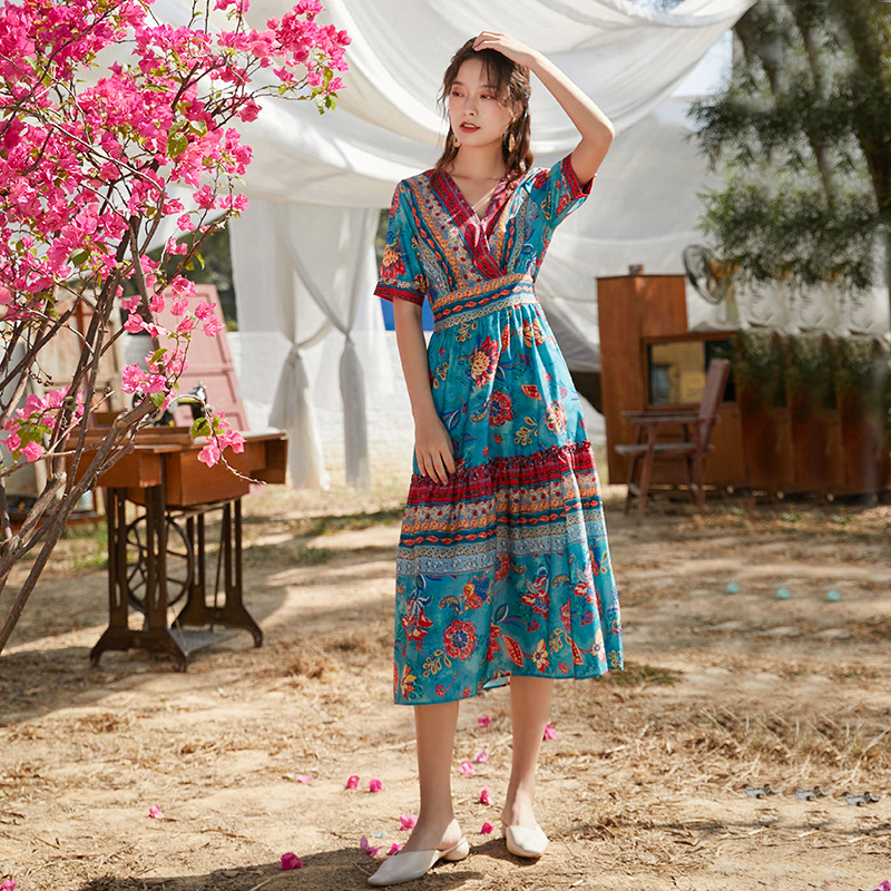 mẫu váy maxi đi biển đẹp 2020